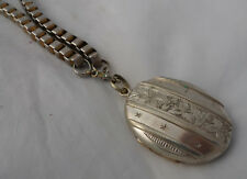 Victorian Silver Plated Collar Necklace & Locket 67cm A602017