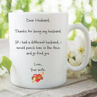 Funny Novelty Ceramic Mug Gift Present Dear Husband Joke Birthday Cup WSDMUG954