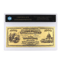 1000 Dollars In 1875 24k Gold Banknote with Protect Case for Collection