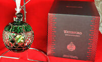 "WATERFORD EMERALD CRYSTAL BALL Ornament 2018 ""Lighting Up the Season"" NEW in Box"