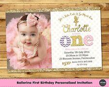 BALLERINA PERSONALISED INVITATION INVITE 1ST FIRST BIRTHDAY PARTY PHOTO BALLET
