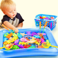 14pcs Set Magnetic Fishing Toys Child Kids 3D Fish Baby Bath Toy interactive Rod