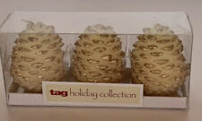 """Set Of 3 (Three) 3"""" Pinecone Candles - Ivory & Gold"""