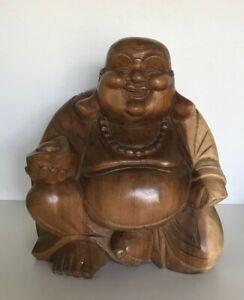 Large Wooden Laughing Buddha Figurine