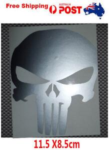 Avery Punisher stickers skull vinyl car bike laptop 11.5cm X 8.5cm Silver