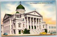 Oklahoma City OK First Christian Church & Cars Old Vintage Postcard B5