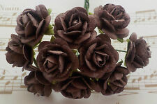 100! Long Stem Handmade Mulberry Paper Roses - 10/15mm - Chocolate Brown Rose!