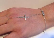 925 STERLING SILVER LADIES CROSS & WORD FAITH BRACELET RING W/.75 CT ACCENTS