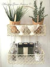Shabby Chic Vintage French Cream Shelf Unit Storage Basket Display Kitchen Rack