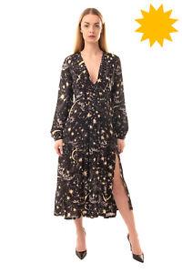 RRP €660 RIXO Silk Midi A-Line Dress Size M Night Sky Pattern High Slit V Neck