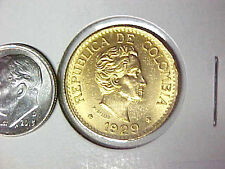 1929 Colombia Gold 5 Peso Uncirculated Colombian Gold Cinco Pesos BU Coin