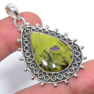 "Atlantisite Stichite Handmade 925 Sterling Silver Jewelry Pendant 1.99"" F2575"
