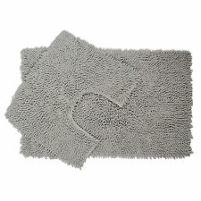 2 Piece Silver Chenille Cotton Bath Mat and Pedestal Set Anti Slip Back Grey