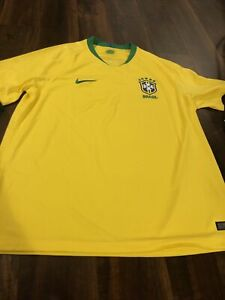 New Nike Team Brazil Mens Soccer Breathe Jersey Size 2XL Yellow Green