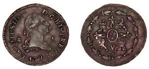 1 COPPER MARAVEDÍ / COBRE. CHARLES IV - CARLOS IV. 1793. SEGOVIA. VF+ / MBC+.