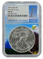 2018 1oz Silver American Eagle NGC MS70 First Day Issue - Eagle Core