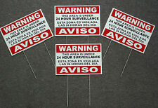 4 Security Video Surveillance Warning 24 Hour Signs 8x12 Spanish English stakes