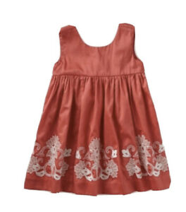 Tea Collection Girl Sz 6 Pantheon Dress Poppy Red Embroidered Lined EEUC