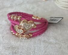 Hearts Leather Bracelet (Pink) (Price Reduced)