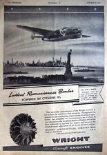 1941 Lockheed Hudson Bomber Airplane Advert - WW2 Wright 'Cyclone 9' Engine Ad
