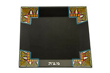 Passover, Unique Dark Wood Pharonic Matzah Plate / Tray with colorful straws *