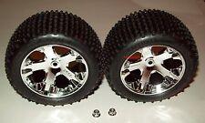 """Traxxas Rustler 1/10 Rear All-Star Chrome Wheels Alias Tires Assembled 2.8"""" New"""