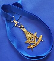 Masonic Collar GOLD PLATED Jewel PAST MASTER with Blue NECK Strap by DEURA USA