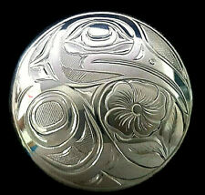 Coast First Nation Art Jewelry Custom Sterling Silver Hummingbird Pendant West