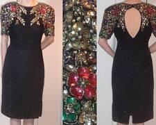 80s GATSBY SILK SEQUIN BEAD FAUX-PEARL DRESS MULTICOLOR FLOWER DESIGN KEYHOLE 8