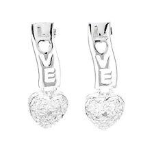 New Lovely Heart Post Earrings Genuine Diamond & 925 Sterling Silver In Gift Box