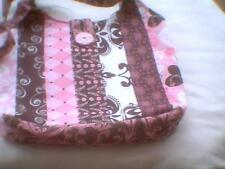 Quilted jelly roll fabric purse bag Brown Pink White floral harlaquin hearts