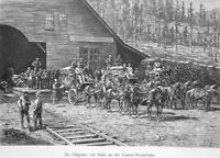 PACIFIC RAILROAD Station Stagecoach Transport to Nevada - 1883 German Print