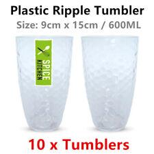 10 x Plastic Ripple Style Tumbler 600ML Large Drinking Cup Beer Coffee Tea Mug