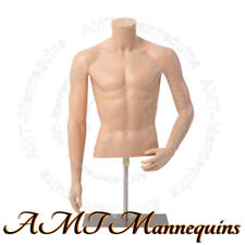 New ListingMale torso+stand, Adjustable height, Skin tone, Half body dress form -Ymt3-Fw