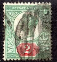 1887 SG 200 2d Grey-Green & Carmine with Barred Circle Cancellation