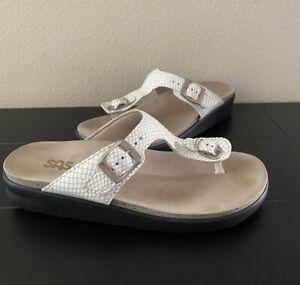 SAS Sanibel T-Strap Slide Women Sandals White Snake in Size 7.5M
