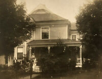 Family Pose Together Outside Victorian Home w/ Iron Fence, Fancy Porch Post RPPC