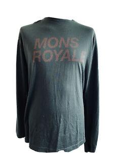 Mons Royale Mens Large Worn Green / Orange 100% Merino Wool Base Layer