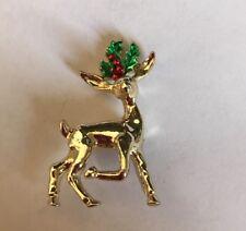 """Vintage Reindeer 1-1/2"""" Christmas Brooch Pin Jewelry K-49"""