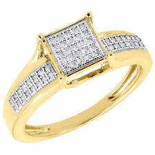 10K Yellow Gold Diamond Promise Anniversary Engagement Square Ring 0.15 Ct.