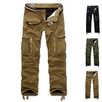 Men's Casual Slacks Thicken Combat Cargo Work Pants Military Trousers No Belt