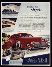1940 Red NASH 4 Door Sedan Car - Weather Eye Magic - Arrow Flight - VINTAGE AD