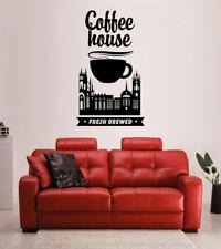 ik1720 Wall Decal Sticker coffee cup tea town coffee shop restaurant