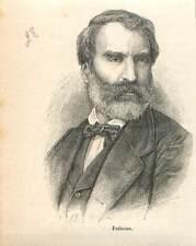 Eugène Pelletan 1813-1884 député sénateur opposant de Napoléon III GRAVURE 1883