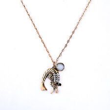 Collar Colgante Dorado Langosta Animal Negro Crema Cristal Original DZ 1