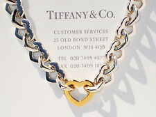 Tiffany & Co Sterling Silver & 18Ct 18K Gold Heart Link 16 Inch Necklace