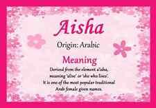 Aisha Personalizado Nombre significa Certificado