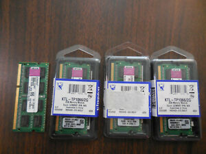 4 NEW 2GB LAPTOP DDR3 Ram MEMORY PC3-10600S 1333mhz KINGSTON KTL-TP1066S/2G