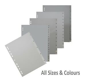 Polypropylene Dividers -  PVC Plastic Tabbed Index File - All Sizes & Colours
