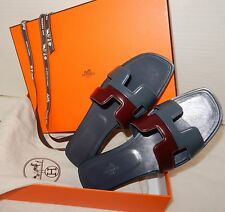 Hermes Limited Edition Bicolor H Sandals Leather flat shoes NEW